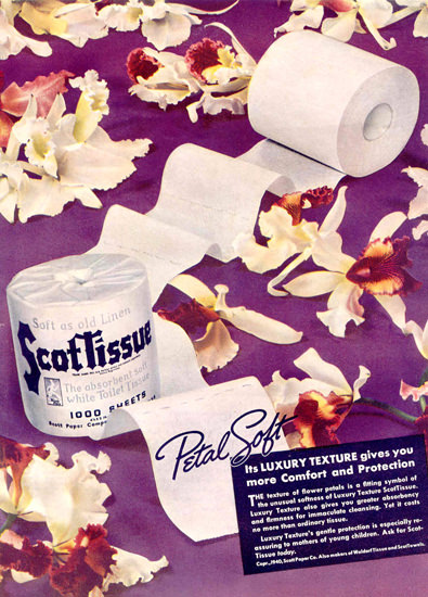 Scott Paper Scot Tissue Petal Soft 1940 | Vintage Ad and Cover Art 1891-1970