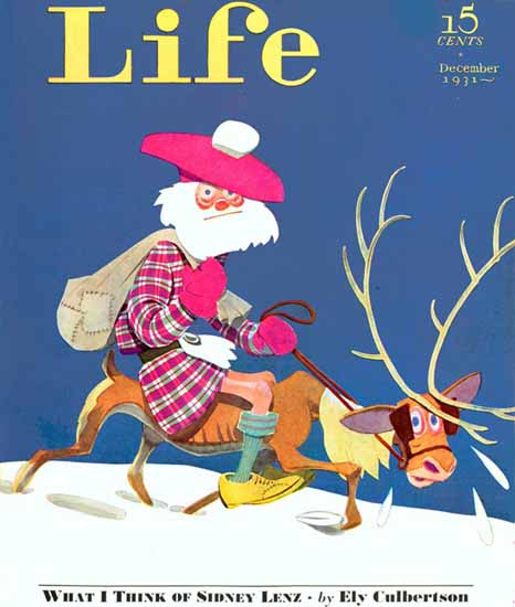 Scottish Santa Life Humor Magazine 1931-12 Copyright | Life Magazine Graphic Art Covers 1891-1936