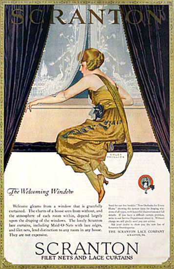 Scranton Curtains The Welcome Window Coles Phillips | Sex Appeal Vintage Ads and Covers 1891-1970