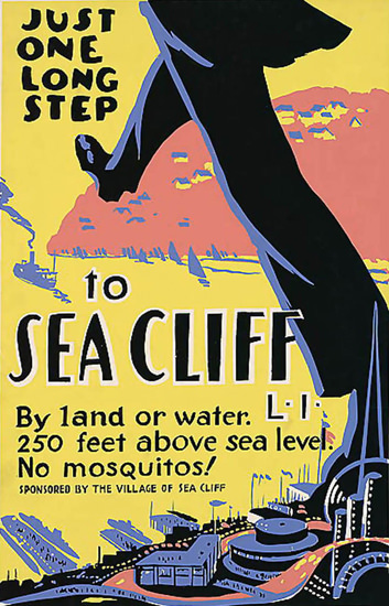 Sea Cliff Just One Long Step | Vintage Travel Posters 1891-1970