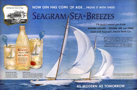 Seagram Sea Breezes Dry Gin Sailing Boat | Vintage Ad and Cover Art 1891-1970
