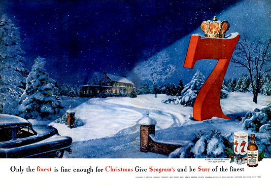 Seagrams 7 Crown Blended Whiskey Christmas | Vintage Ad and Cover Art 1891-1970