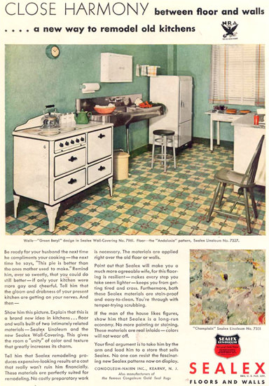 Sealex Floors And Walls Kitchen 1933 | Vintage Ad and Cover Art 1891-1970