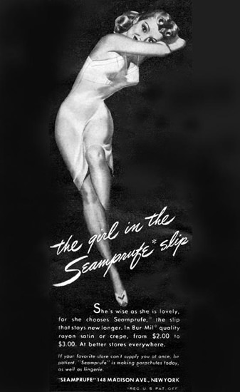 Seamprufe Slip Girl New York 1943 | Sex Appeal Vintage Ads and Covers 1891-1970