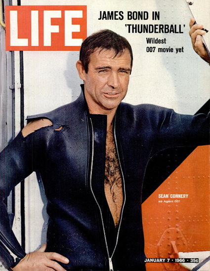 Sean Connery 007 Bond Thunderball 7 Jan 1966 Copyright Life Magazine | Life Magazine Color Photo Covers 1937-1970