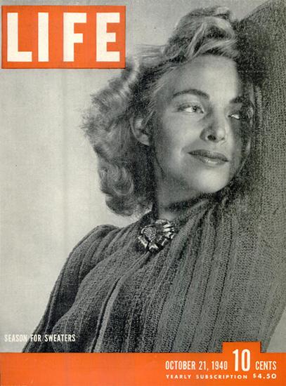 Season for Sweaters 21 Oct 1940 Copyright Life Magazine   Life Magazine BW Photo Covers 1936-1970