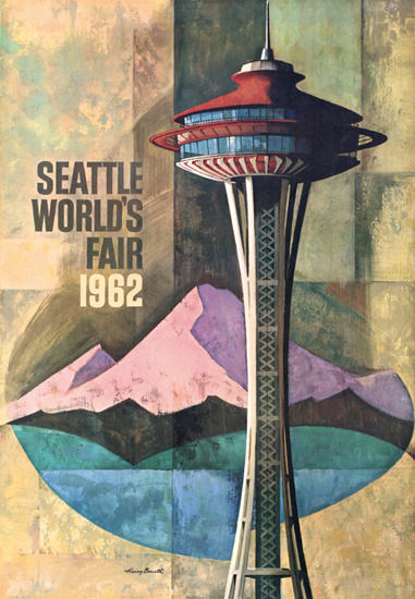 Seattle Worlds Fair 1962 Harry Bonath   Vintage Ad and Cover Art 1891-1970