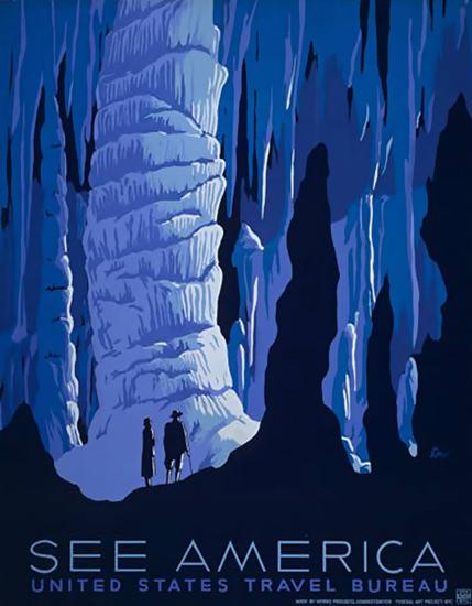 See America Caves United States Travel Bureau | Vintage Travel Posters 1891-1970