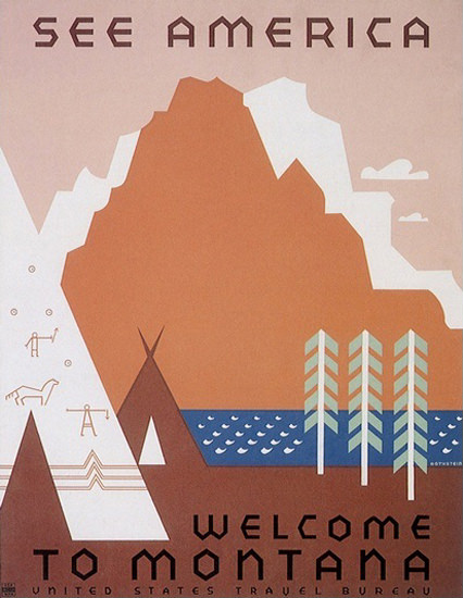 See America Welcome To Montana US Travel | Vintage Travel Posters 1891-1970