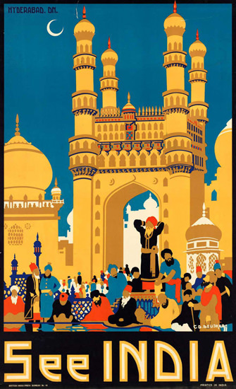 See India 1930s Hyderabad | Vintage Travel Posters 1891-1970