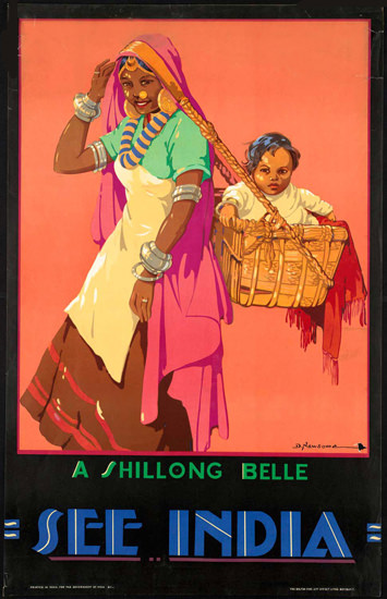 See India A Shillong Belle 1935 | Vintage Travel Posters 1891-1970