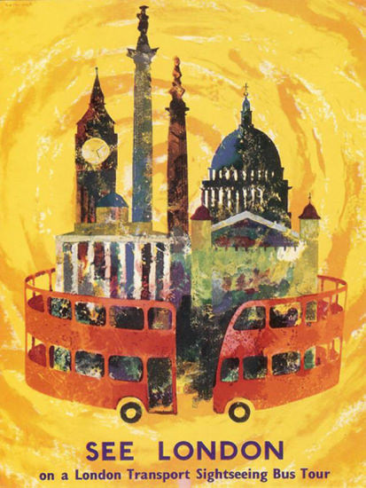 See London On A London Transport Sightseeing   Vintage Travel Posters 1891-1970