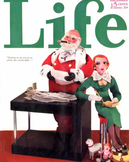 See you on the 25th Life Humor Magazine 1932-12 Copyright | Life Magazine Graphic Art Covers 1891-1936