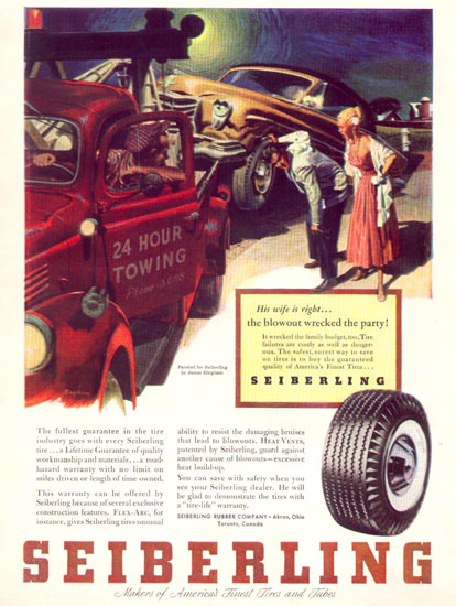 Seiberling Tire Towing 1953 | Vintage Ad and Cover Art 1891-1970