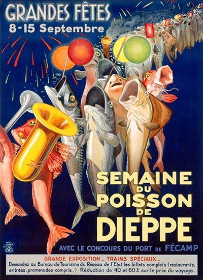 Semaine Du Poisson De Dieppe Port Du Fecamp | Vintage Ad and Cover Art 1891-1970