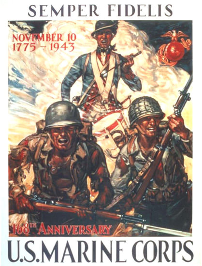 Semper Fidelis 168th Anniversary Marines 1943 | Vintage War Propaganda Posters 1891-1970