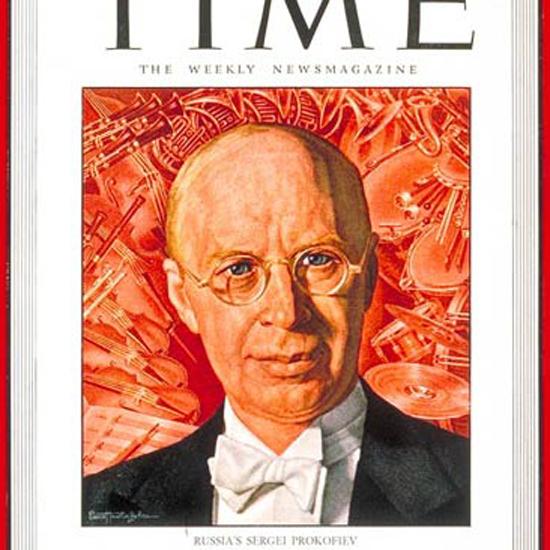 Sergei Prokofiev Time Magazine 1945-11 by Ernest Hamlin Baker crop | Best of Vintage Cover Art 1900-1970