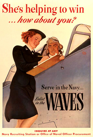 Serve In The Navy She is Helping To Win | Vintage War Propaganda Posters 1891-1970