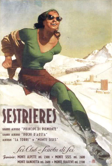 Sestrieres Sci Club Scuola Di Sci 1949 Skiing Italy | Sex Appeal Vintage Ads and Covers 1891-1970