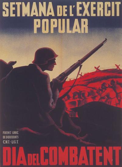 Setmana De L Exercit Popular Dia Del Combatent | Vintage War Propaganda Posters 1891-1970