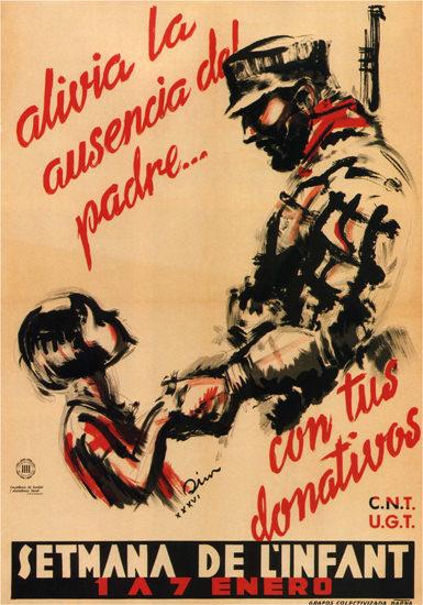 Setmana De L Infant Spain Espana   Vintage War Propaganda Posters 1891-1970