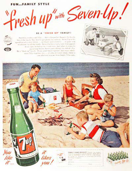 Seven-Up 1954 7up  Beach Live Fun Family Stile | Vintage Ad and Cover Art 1891-1970