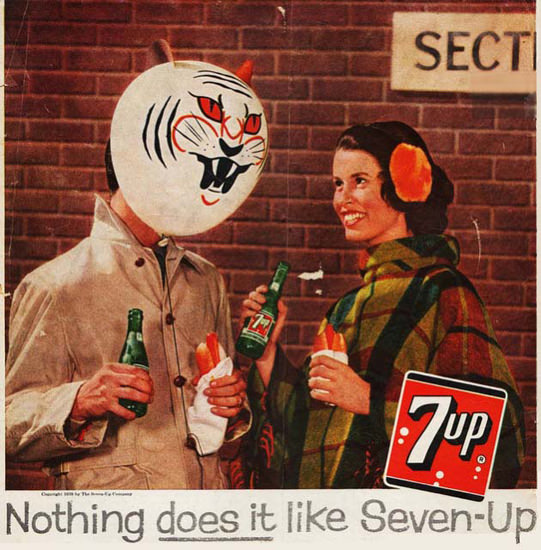 Seven-Up 1954 7up The Tiger And The Hot Dogs | Vintage Ad and Cover Art 1891-1970