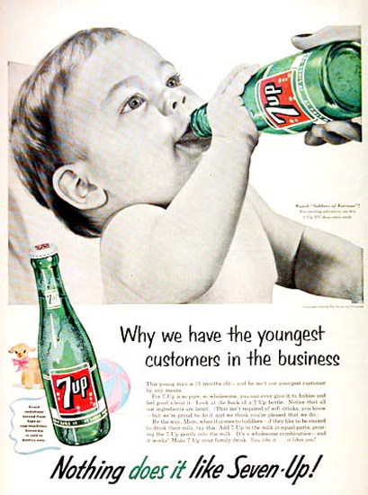 Seven-Up 1955 7up Why We Have The Youngest | Vintage Ad and Cover Art 1891-1970