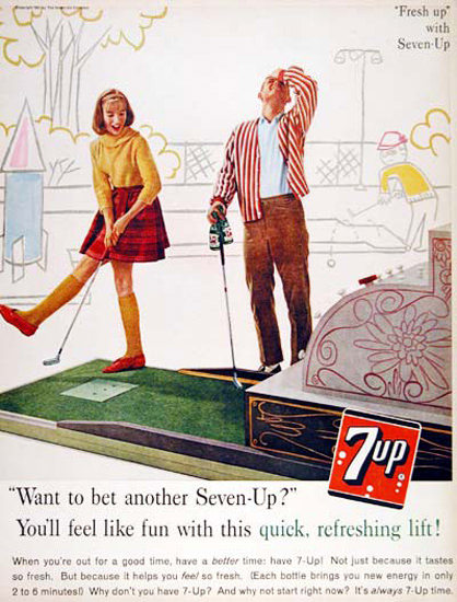 Seven-Up 1961 7up Crazy Golf Miniature Golf | Vintage Ad and Cover Art 1891-1970