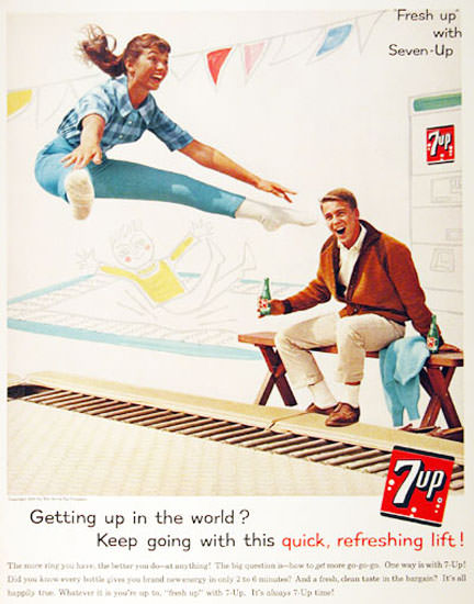 Seven-Up 1961 7up Trampoline Getting Up World | Sex Appeal Vintage Ads and Covers 1891-1970