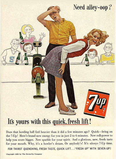 Seven-Up 1963 7up Need Aley-Oop Bowling   Sex Appeal Vintage Ads and Covers 1891-1970