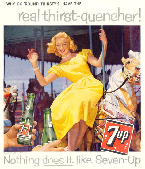 Seven-Up 7-Up Girl Merry-Go-Round Horse 1959 | Sex Appeal Vintage Ads and Covers 1891-1970