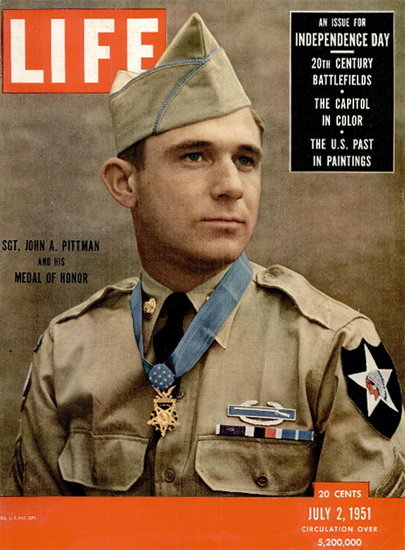 Sgt John A Pittman 2 Jul 1951 Copyright Life Magazine | Life Magazine Color Photo Covers 1937-1970