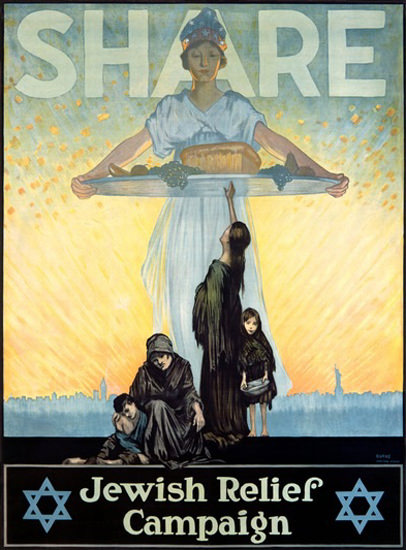 Share Jewish Relief Campaign 1917 Star Of David | Vintage War Propaganda Posters 1891-1970