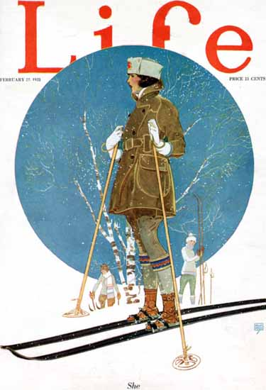 She Skiing Life Humor Magazine 1923-02-22 Copyright | Life Magazine Graphic Art Covers 1891-1936