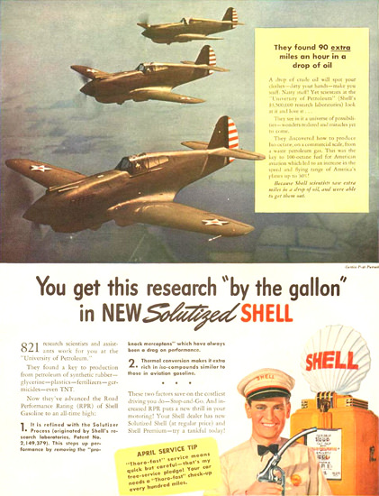 Shell 90 Extra Miles An Hour Drop Solutized 1941 | Vintage War Propaganda Posters 1891-1970