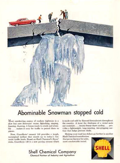 Shell Abominable Snowman Stopped Cold 1961 | Vintage Ad and Cover Art 1891-1970