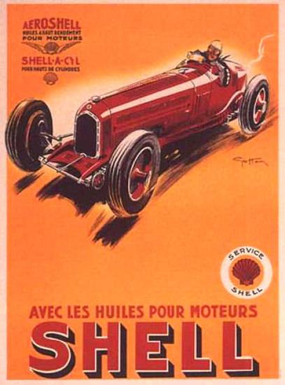 Shell Avec Les Huiles Pour Moteurs 1934 Ham | Vintage Ad and Cover Art 1891-1970