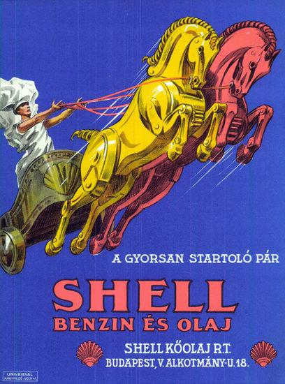 Shell Benzin E Olaj A Gyorsan Startolo 1928 | Vintage Ad and Cover Art 1891-1970