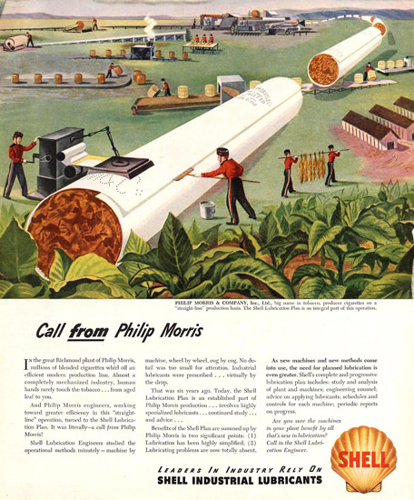 Shell Call From Philip Morris 1950s | Vintage Ad and Cover Art 1891-1970