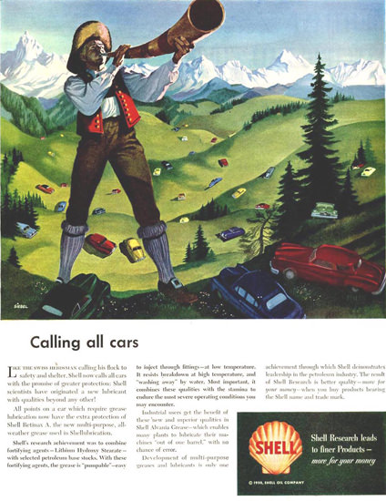 Shell Calling All Cars 1950 | Vintage Ad and Cover Art 1891-1970