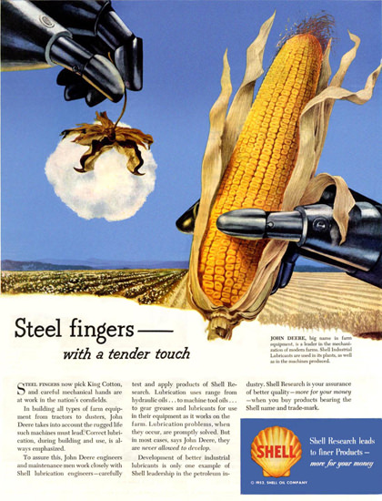 Shell Cotton And Corn Fields John Deere 1952 | Vintage Ad and Cover Art 1891-1970