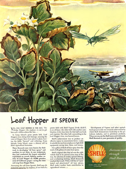 Shell DDT Leaf Hopper At Sponk 1947 | Vintage Ad and Cover Art 1891-1970