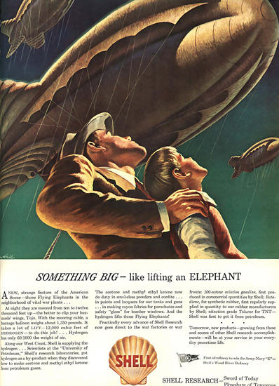 Shell Flying Elephants Army Navy | Vintage Ad and Cover Art 1891-1970