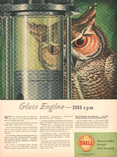 Shell Glass Engine 2000 Rpm 1946 | Vintage Ad and Cover Art 1891-1970