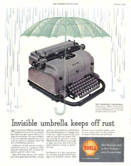 Shell Invisible Umbrella Keeps Off Rust 1953 | Vintage Ad and Cover Art 1891-1970