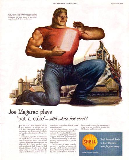 Shell Joe Magarac Plays Pat Cake Hot Steel 1953 | Vintage Ad and Cover Art 1891-1970