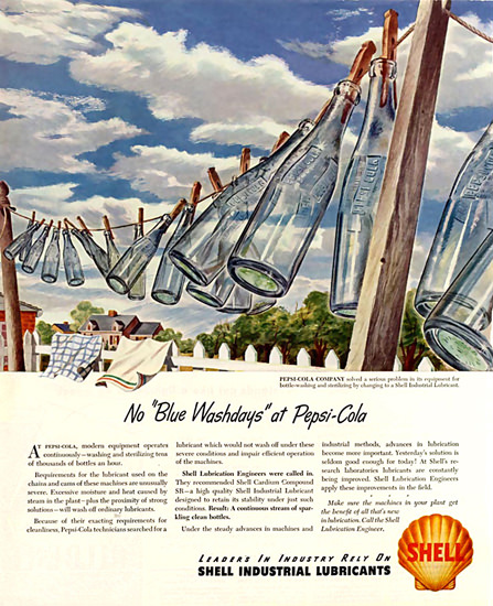 Shell No Blue Washdays At Pepsi-Cola 1947 | Vintage Ad and Cover Art 1891-1970