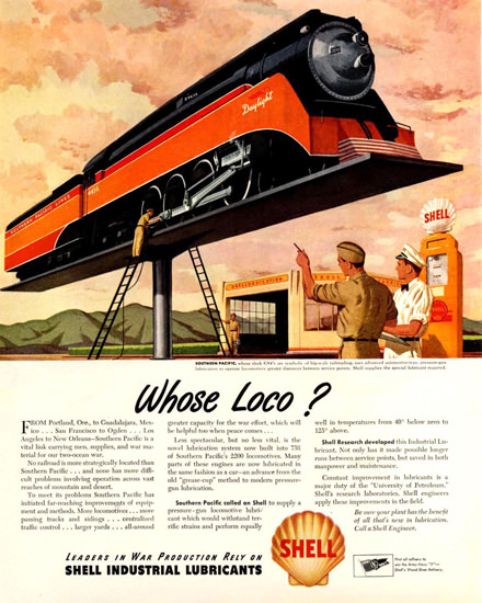 Shell Railroad Engine Locomotive Southern Pacific | Vintage Ad and Cover Art 1891-1970