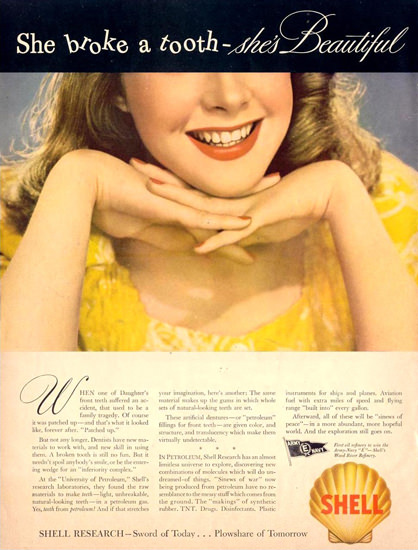 Shell Research Broken Tooth 1943 | Sex Appeal Vintage Ads and Covers 1891-1970